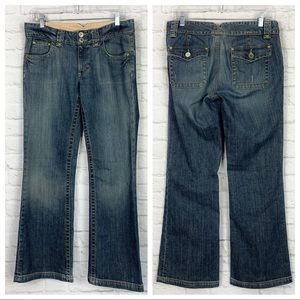 Banana Republic Distressed Flare Flap Pocket Jeans